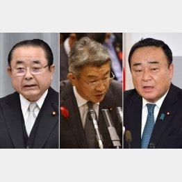 左から田中復興相、武田国家公安委員長、梶山経産相(C)共同通信社
