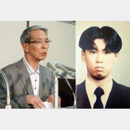 捜査打ち切りを求める要望書を提出後に、記者会見をする小林邦三郎さん(左)と被害者の悟さん(C)共同通信社