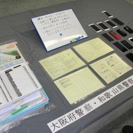 押収された名簿やマニュアルなど=14日、大阪府警本部