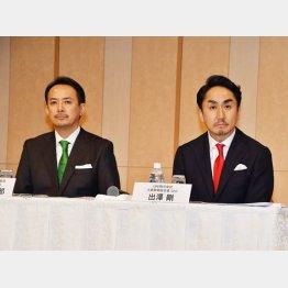 会見する川辺健太郎Zホールディングス代表取締役CEO(左)と出沢剛LINE代表取締役CEO(C)日刊ゲンダイ