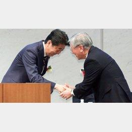 握手する安倍首相(左)と経団連の中西宏明会長(C)日刊ゲンダイ