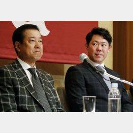 """巨人がついに""""解禁""""(左から原監督、山口俊)/(C)日刊ゲンダイ"""