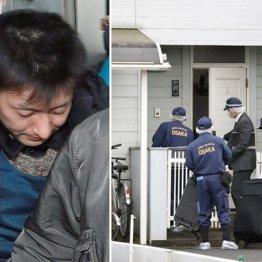 伊藤仁士容疑者(左)の自宅に家宅捜索に入る大阪府警捜査員ら