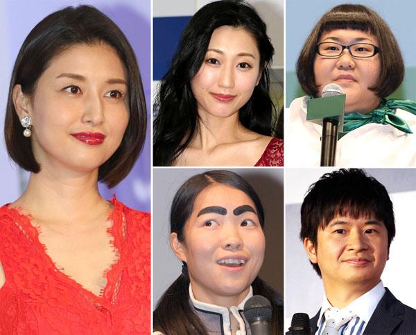 27日には橋本マナミ(左)も。右は、左上から時計回りに、壇蜜、安藤なつ、若林正恭、イモトアヤコ(C)日刊ゲンダイ