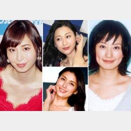 ポスト候補は塩地美澄(左)と松本まりか(右)、中央は上から壇蜜、橋本マナミ(C)日刊ゲンダイ