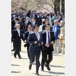 いつまで逃げるのか(2019年安倍首相主催「桜を見る会」で)/(C)日刊ゲンダイ