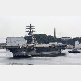米海軍横須賀基地を拠点とする原子力空母ロナルド・レーガン(C)共同通信社