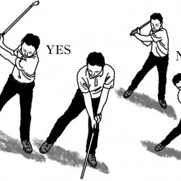 左足下がりの傾斜地でも左肩が顎の下に入って威力を発揮
