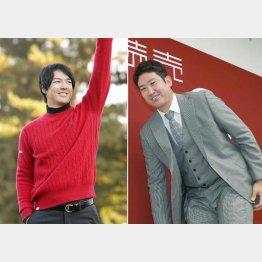 ゴルフの石川遼(左)と巨人の菅野智之(C)共同通信社