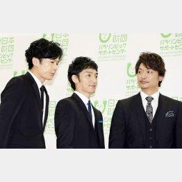 元SMAP「新しい地図」、左から稲垣吾郎、草彅剛、香取慎吾(C)日刊ゲンダイ