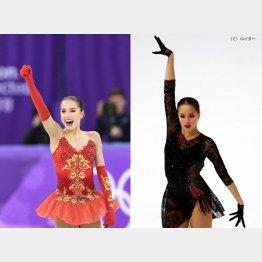 (左)2018年2月平昌五輪(右)2019年12月GPファイナル(C)共同通信社