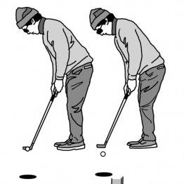 パッティングではボールを芯でとらえる練習が上達の近道