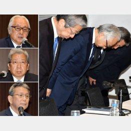 (左上から下に)辞任する日本郵政の長門正真、日本郵便の横山邦男、かんぽ生命の植平光彦の3社長(C)日刊ゲンダイ