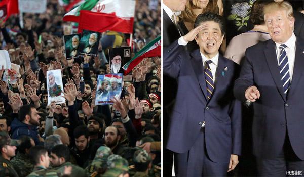 狂気同盟の安倍首相とトランプ米大統領(右)、イラン国民の怒りが頂点に(C)ロイター/Official Khamenei website