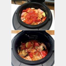 材料と調味料を入れて35分で完成(調理前が上・調理後は下)/(C)日刊ゲンダイ
