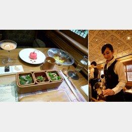 特選食材によるフルコース=左、ワインも九州産/(C)日刊ゲンダイ
