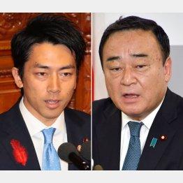 化石賞を贈られた小泉環境相(左)と梶山経産相(C)日刊ゲンダイ