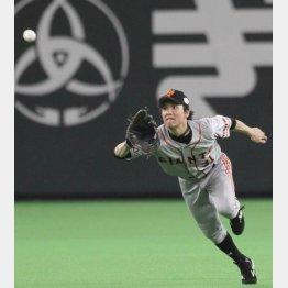 2012年の日本シリーズで美技を見せる松本(C)日刊ゲンダイ