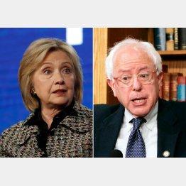ヒラリー・クリントン元米国務長官(左)とバーニー・サンダース上院議員(C)ロイター