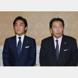 会談後に取材に応じる国民民主党の玉木雄一郎代表(左)と立憲民主党の枝野幸男代表(C)日刊ゲンダイ