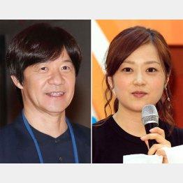 タレントの内村光良と日本テレビの水卜麻美アナウンサー(C)日刊ゲンダイ