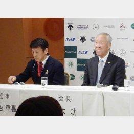昨年12月に行われたJGTO日程発表(右が青木功会長)/(C)日刊ゲンダイ