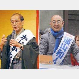 門川候補(左)と追い上げる福山候補(C)日刊ゲンダイ