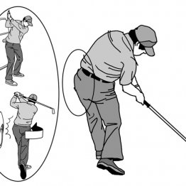 インパクトで左のお尻を突き出すと前傾角度が維持できる