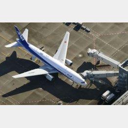羽田空港に到着したチャーター機(C)共同通信社