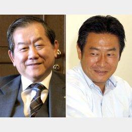 加森観光の加森公人会長(左)と衆院議員の秋元司容疑者(C)共同通信社