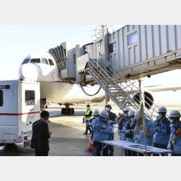 武漢から帰国者を乗せて羽田空港に到着したチャーター機(C)共同通信社