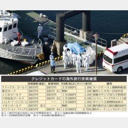 クルーズ船から感染者を搬送する救急車(C)共同通信社