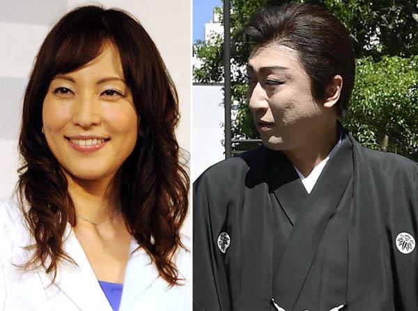 鈴木杏樹と喜多村緑郎(C)共同通信社