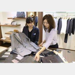 三陽商会が主力ブランド「ポール・スチュアート」で展開する婦人用オーダースーツの売り場(C)共同通信社