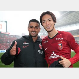 J1浦和FWのレオナルド。右は仙台戦で2トップを組んだFW杉本(C)Norio ROKUKAWA/office La Strada