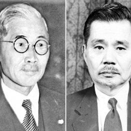 文官は東郷茂徳(左)と賀屋興宣の2人だけだった