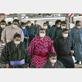力士もマスク、マスク…(C)共同通信社