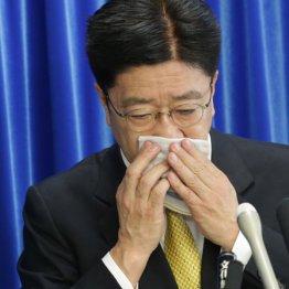 ハンカチで口を覆いながら会見を行う加藤厚労相(C)日刊ゲンダイ