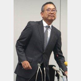 JFAで会見する村井チェアマン(C)Norio ROKUKAWA/office La Strada
