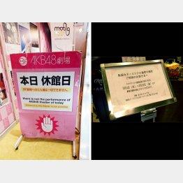 休演のお知らせをする「AKB48劇場」や「仮面女子」の看板(C)日刊ゲンダイ