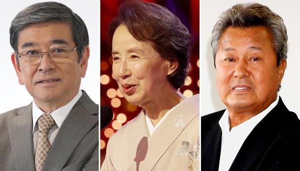 (左から)石坂浩二、八千草薫、梅宮辰夫(C)日刊ゲンダイ