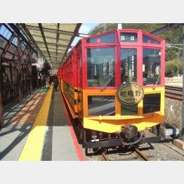 トロッコ嵯峨駅に到着(提供写真)