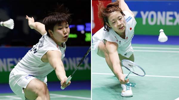 全英オープン準々決勝に進んだ山口茜(左)と奥原希望(C)共同通信社