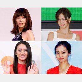(左上から時計回りに)ヨンア、安田美沙子、忽那汐里、岡田結実(C)日刊ゲンダイ