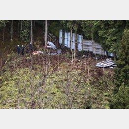 遺体が発見された現場付近(11日、京都福知山市)/(C)共同通信社