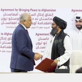 署名後に握手するタリバンのバラダル師(右)と米国のハリルザド・アフガニスタン和平担当特別代表(C)共同通信社
