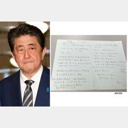 遺族が公表した手記(安倍首相=左)(C)日刊ゲンダイ