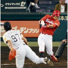 2013年のCSファーストステージ阪神戦で代打3ランを放つ広島・岩本(C)共同通信社