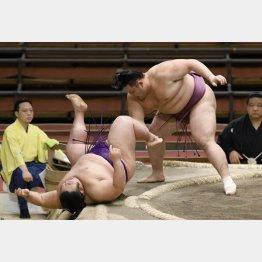 押し相撲の貴景勝(左)に押し倒しで勝利(C)共同通信社