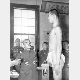 1942(昭和17)年4月18日、栃木県下の徴兵検査を視察する東條英機(C)共同通信社